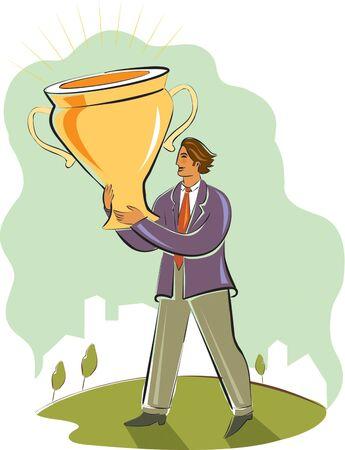 rewarded: hombre de negocios la celebraci�n de un trofeo