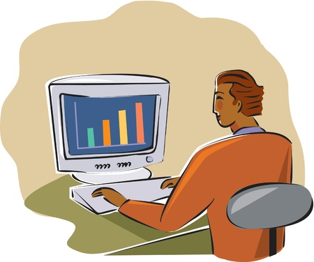 businessman viewing a chart on his computer Stock Photo - 15208168
