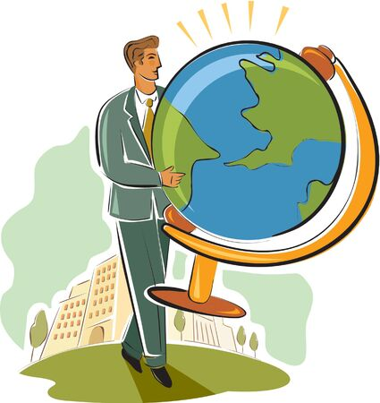 businessman carrying a globe: businessman carrying a globe