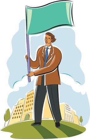 Businessman flying a flag Stock Photo - 15208900