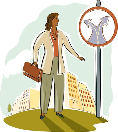 imagezoo: businesswoman at a crossroads sign