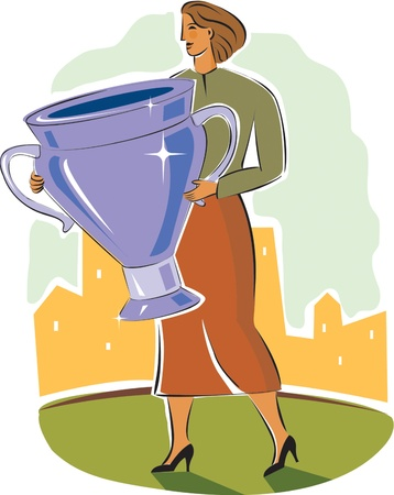 businesswoman holding a trophy Stock Photo - 15208601