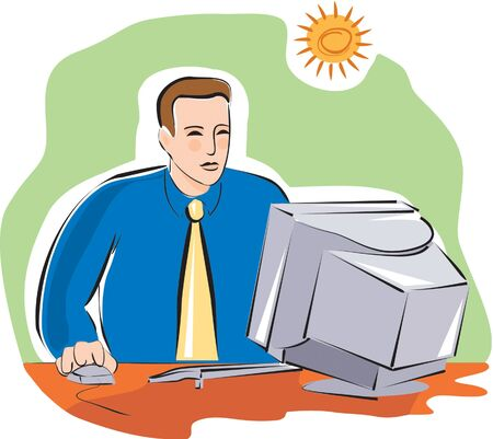 one man only: Businessman working at his computer Stock Photo