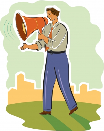 acquaint: businessman using a megaphone