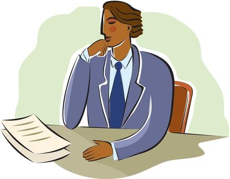 pipe dream: hombre de negocios meditando documentos