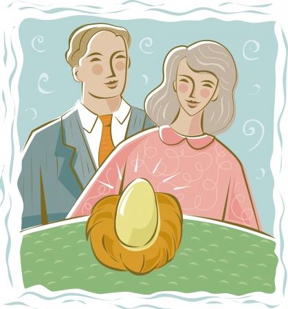 gniazdo jaj: Para podziwiając ich lokowania oszczędności Zdjęcie Seryjne