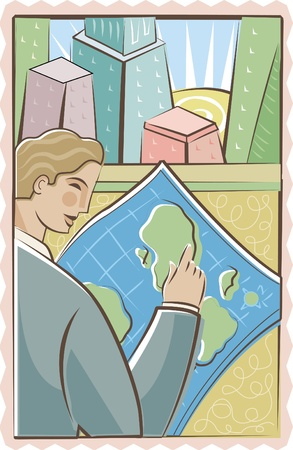 one man only: Businessman studying a map