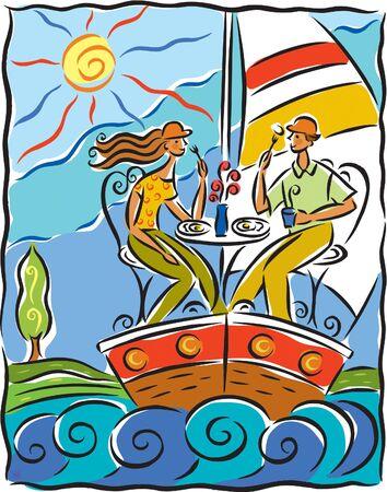 Dos amigos almorzando en un velero