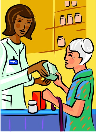 buying: A pharmacist showing a product to an elderly patron