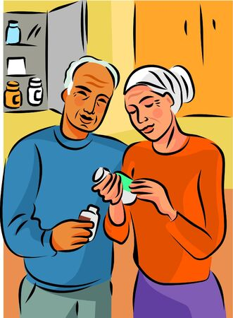 An elderly couple reading the label on a bottle of pills Stock Photo - 15208808