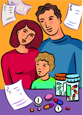 A family standing near medicines with prescriptions in the background Stock Photo - 15209090