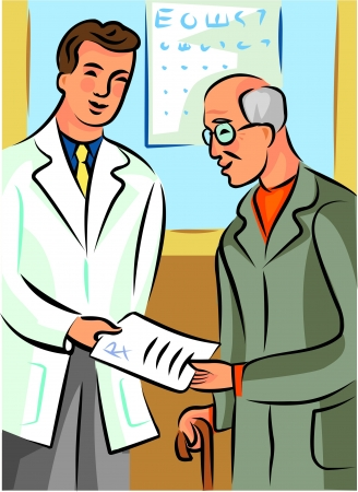 Doctor handing a prescription to an elderly man photo