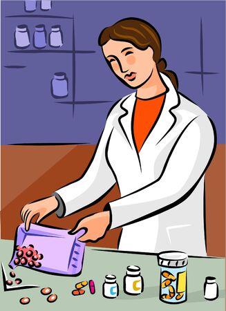 Un farmacéutico dispensar píldoras Foto de archivo - 15208667