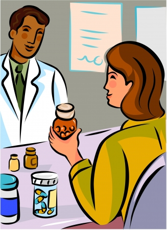 enquiring: A woman holding a bottle of pills while talking to a pharmacist