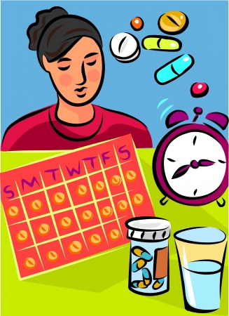 A woman sitting in front of a calendar; a clock and pills Фото со стока