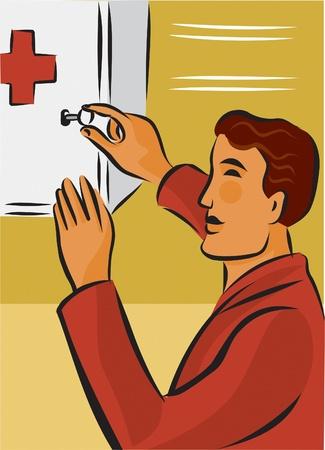 Man opening first aid kit with key Zdjęcie Seryjne