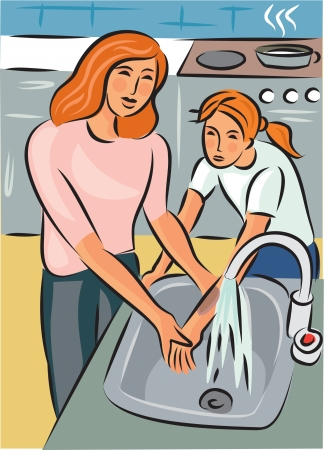 Mother holding daughters burnt arm under cold water; with cooker in the background Stock Photo