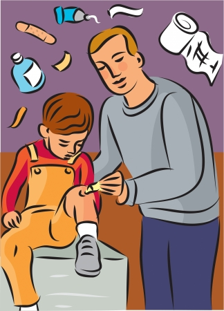 Man putting cream on childs knee injury; with first aid items in background