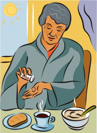 prescribed: Elderly woman taking her medication with her meal Stock Photo