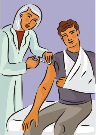 draagdoek: Doctor geven een naald schoot een man met een gebroken arm in een mitella Stockfoto