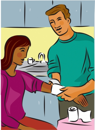 tending: Man bandaging a womans injured arm with gauze