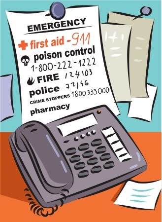 A list of emergency and medical numbers in front of a telephone