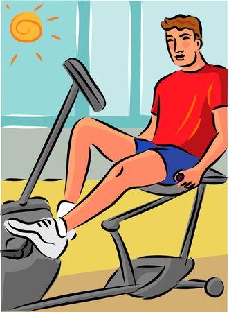 Man te oefenen op een ligfiets om spanning te verminderen op zijn rug