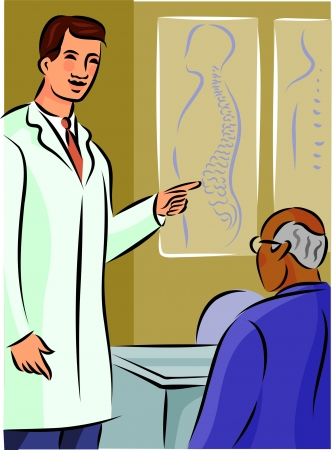 a physician: Doctor showing his patient a diagram of the spine
