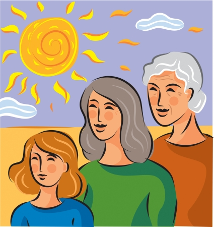 Illustration about genetics with three generations of women standing in a row Stock Illustration - 15209206
