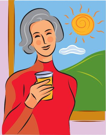 mature woman: A woman having a glass of orange juice in front of a window Stock Photo