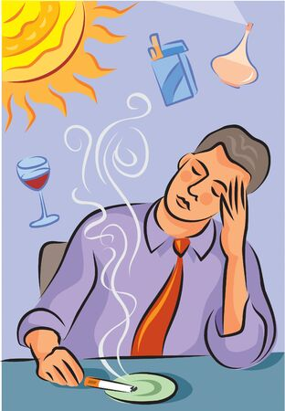 Illustration about migraine triggers showing a man with headache; a bright sun; cigarette smoke; red wine and perfume