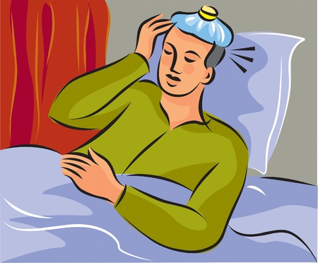 A man lying in bed with eyes closed; curtains drawn and cold compress on head photo