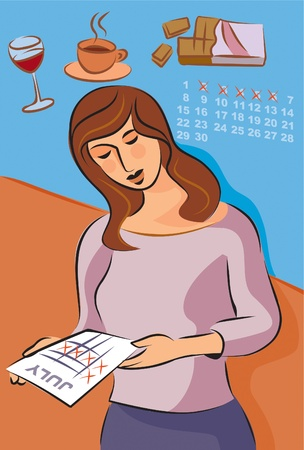 triggers: Illustration about migraine triggers with a woman looking at her monthly cycle; red wine; coffee and chocolate Stock Photo