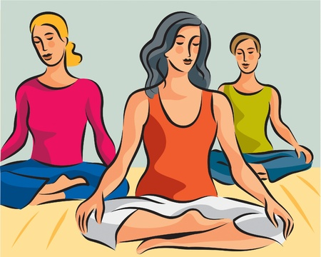 Illustration of three women doing yoga meditation in lotus positions illustration