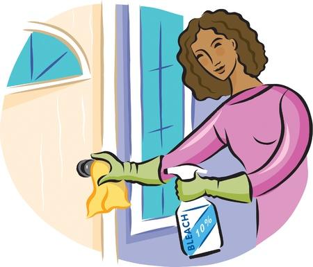 desinfectante: Una mujer de la limpieza de un pomo de la puerta con un spray desinfectante blanqueador