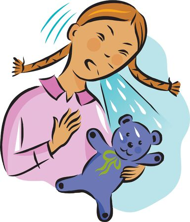 infectious: Illustration of a girl sneezing over her teddy bear