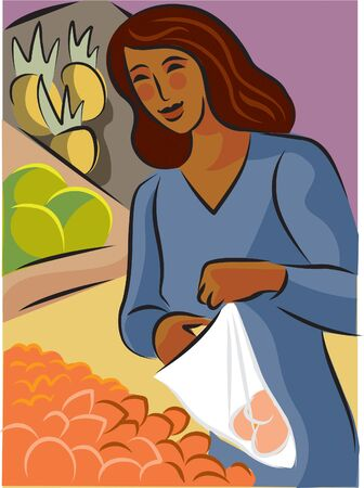 Illustration of a woman buying apricots at a grocery store