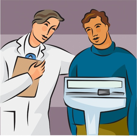 Illustration of a doctor weighing an overweight patient on a scale