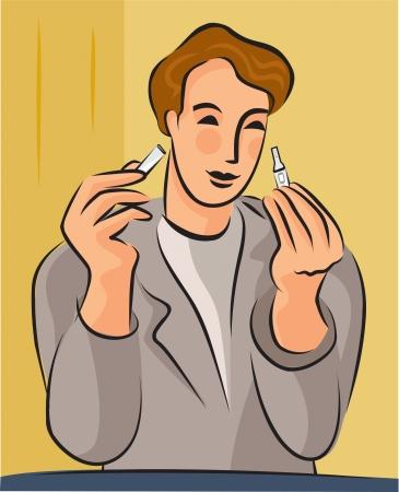 urinalysis: Illustrazione di un uomo che legge il suo test di glucosio nelle urine Archivio Fotografico