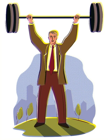 A businessman lifting a weight over his head with the city in the background