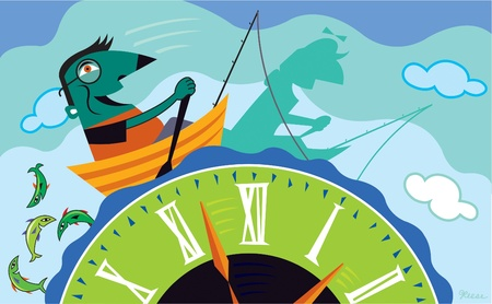 navigating: A man rowing a boat back in time