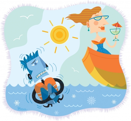 An illustration of a man in freezing water while a woman is in a boat sipping cocktails Banco de Imagens