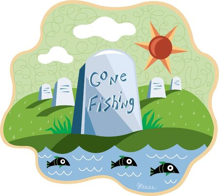 says: An image of a cemetary by the water with a headstone that says Gone Fishing Stock Photo