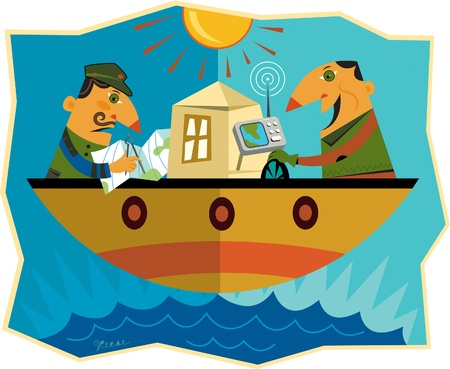 navigate: Two men on opposite sides of a boat where one man is using a gps to navigate and the other is using a map