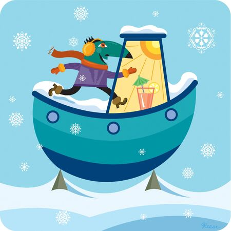 one man only: A man wearing winter clothes going to the warm part of his boat Stock Photo