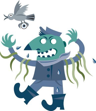 ghoulish: A ghoulish character with seaweed hanging from his arms