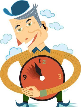 An ageing man holding a clock Imagens