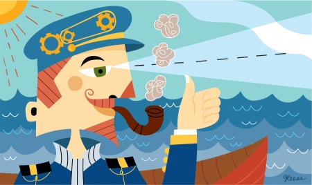 one man only: A ship captain smoking a pipe and looking into the distance while giving the thumbs up Stock Photo