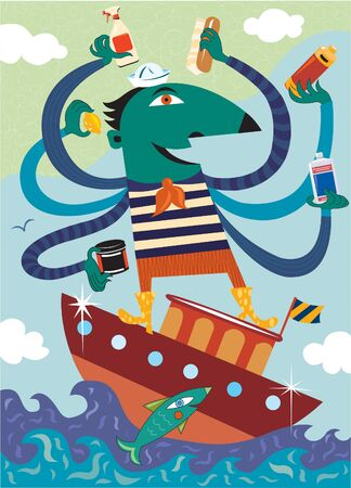 one man only: A sailor with six arms with each hand holding a cleaning product