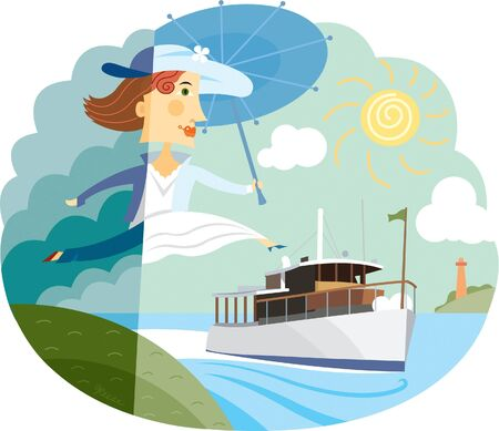 one woman only: A woman going on vacation leaping from land to a cruise ship